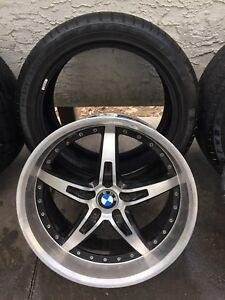 """19"""" staggered BMW wheels with run-flat low pro tires"""