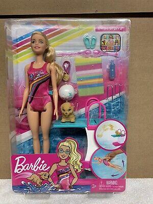 Barbie Dreamhouse Adventures Swim 'n Dive Doll, 11.5-Inch Swimwear Board Puppy