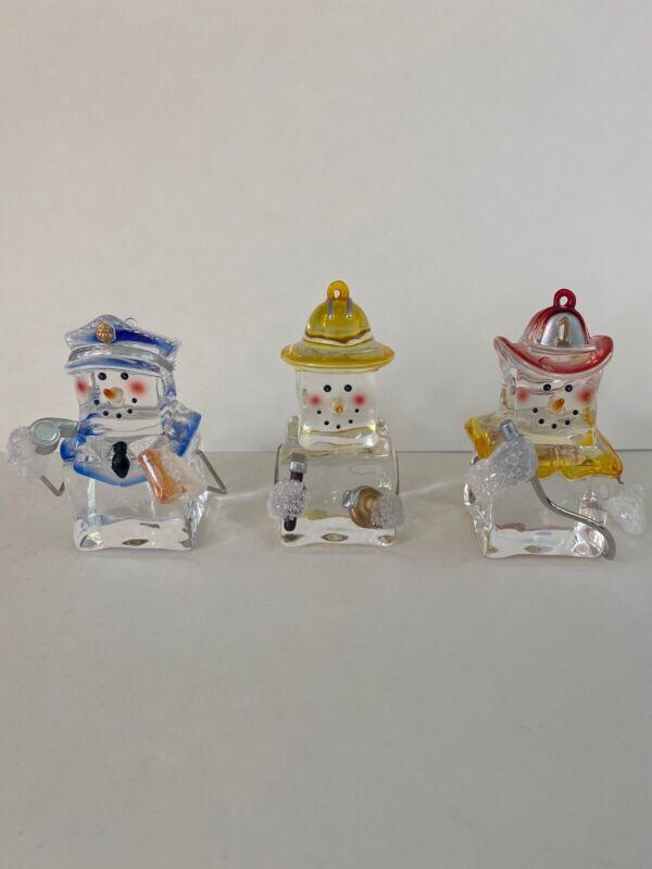 Snowman Lot of 3 Clear Acrylic Ice Cube Christmas Hanukkah Snowmen & Ornaments