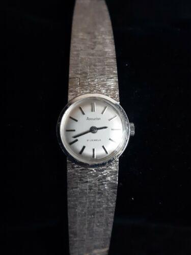 Accurist 21 Jewels Ladies Watch Vintage Silver Tone  - $7.88