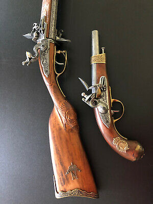 EXTREMELY RARE Denix Napoleon Over-Under Rotating Double Barrel Rifle Pistol Set