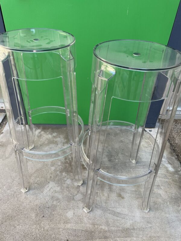 Charles Ghost Bar Height Stools by Philippe Starck Kartell Smoke Grey