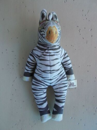 "Vintage 1992 The Toy Works Stuffed Aviator Zebra Graeme Base 9"" Made USA RARE!"