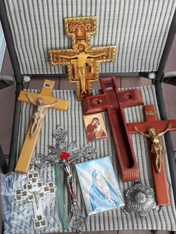Lot catholic crosses crucifix icon mary  station of cross for sick cross