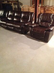 1 year old brown leather recliner couch and char