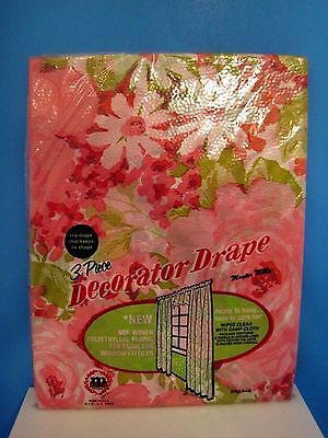 Vintage Maytex Mills Pink Floral 3 Piece Decorator Drape Plastic Curtains, Daisy - Plastic Curtains