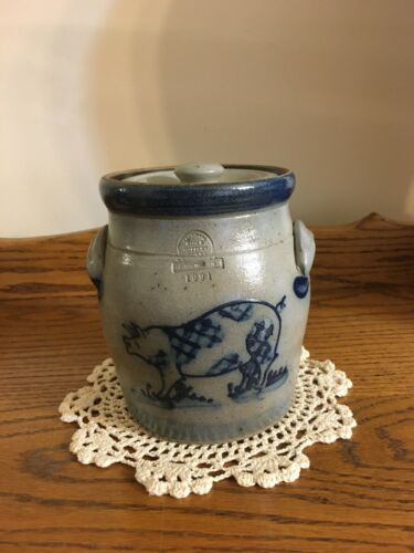 "Rowe Pottery Pig Crock Canister with lid  6"" tall  salt glaze 1991"