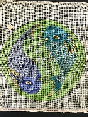 Vtg Hand painted Yin and Yang Koi Fish signed K Needlepoint Pillow Canvas 11