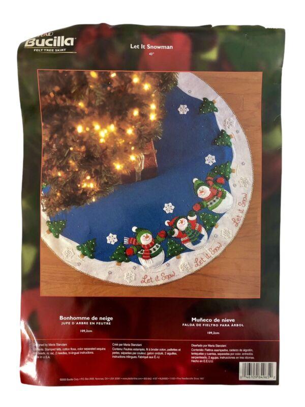 """Bucilla Plaid Let It Snowman 43"""" Felt Tree Skirt Kit #84965 2003 Opened READ"""