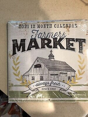 Farmers Market 2021 Wall Calendar 11x11 Organize Monthly Planner Desk Planner