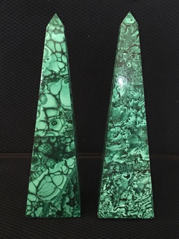 Pair Of Rare Mint Malachite Obelisques