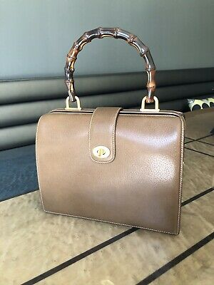 Rare Vintage brown leather Gucci Doctor bag with bamboo handle - Pristine