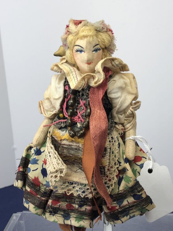 """6.5"""" Vintage Polish Lady Cloth Doll Beautiful Coloring Details Painted Face #me"""