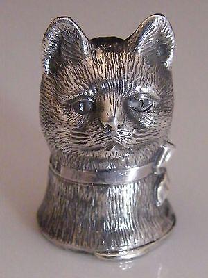 NOVELTY SILVER CAT HEAD VESTA CASE