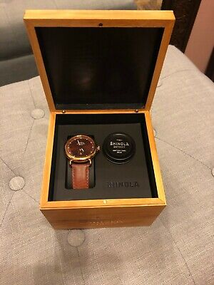 Mens Rose Gold Face Shinola Runwell Watch 41 mm / Cognac Leather Band