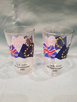 "Vintage/Collectable Matching Set of 2 ""V.E. Day 50th Anniversary"" 1995 Glasses"