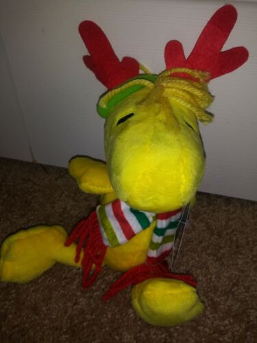 """Woodstock Peanuts 6"""" Musical Christmas Plush Stuffed Toy, New With Tags"""