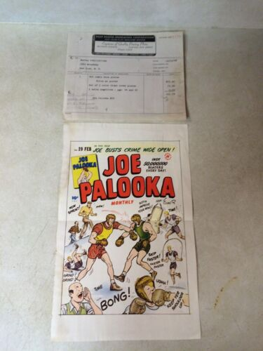 JOE PALOOKA #29 COVER ART original cover proof 1948 w/PRINTER INVOICE, boxing