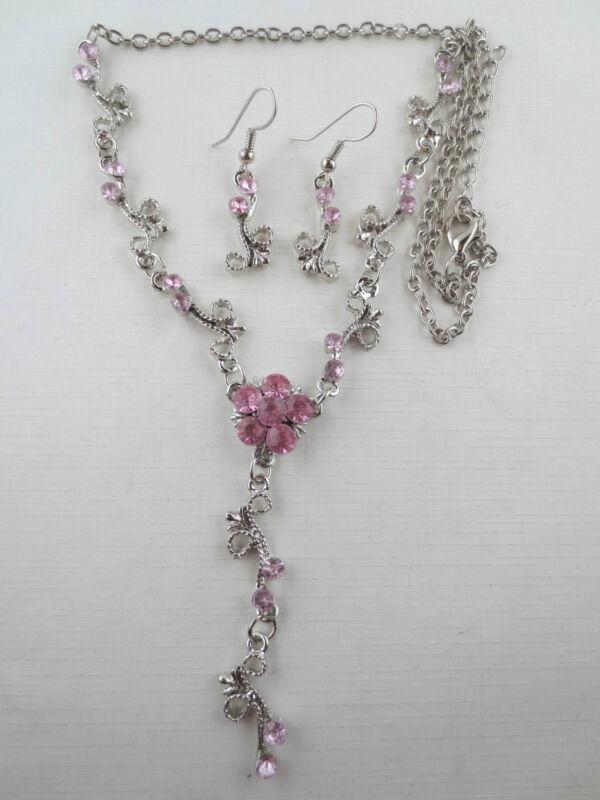 Vintage Style Dangling Pink Rhinestone Flower Lariat Necklace Earrings R51