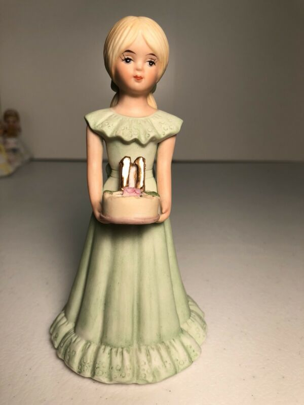 Vintage Porcelain Enesco Growing Up Girls Age 11 Blonde