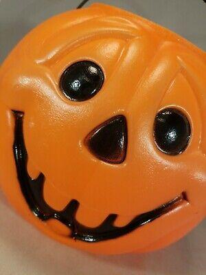 Vintage Pumpkin Halloween Plastic Blow Mold Jack O Lantern Treat Bucket Pail 80s