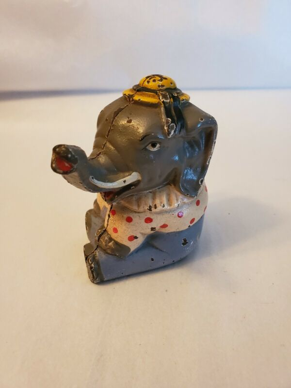 VINTAGE 1934 CAST IRON CIRCUS ELEPHANT BANK MADE BY HUBLEY