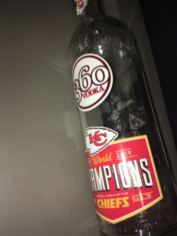 360 Vodka Kansas City KC Chiefs World Champions EMPTY Swing Top Bottle