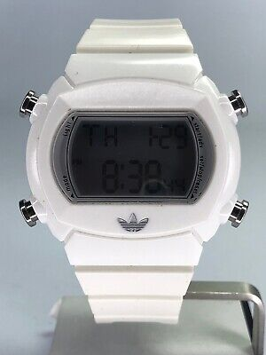 Adidas White Sports Watch Silver LCD Face Good Condition