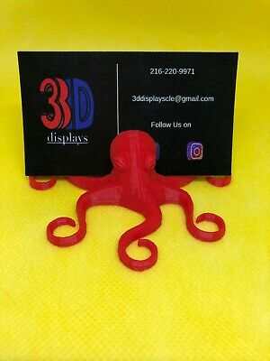 3d Printed Red Octopus Business Card Holder Great Gift