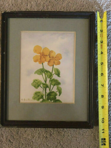 1968 Vintage Antique Original Watercolor Painting Art Picture Flower Framed Old