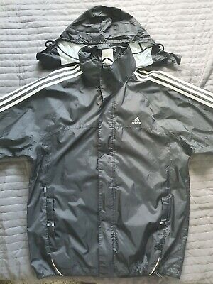 Adidas Vintage Rain Jacket Black Windbreaker S/M