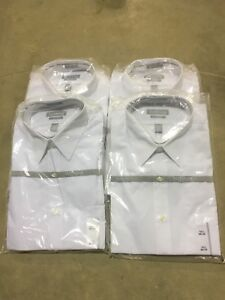 Van Heusen Men's White Fitted Dress Shirts NEW