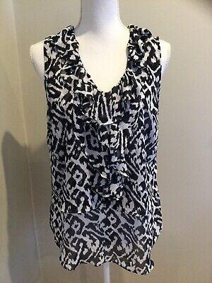 Ann Taylor LOFT Medium Shirt Blouse Black White Animal Print Ruffles Sleeveless