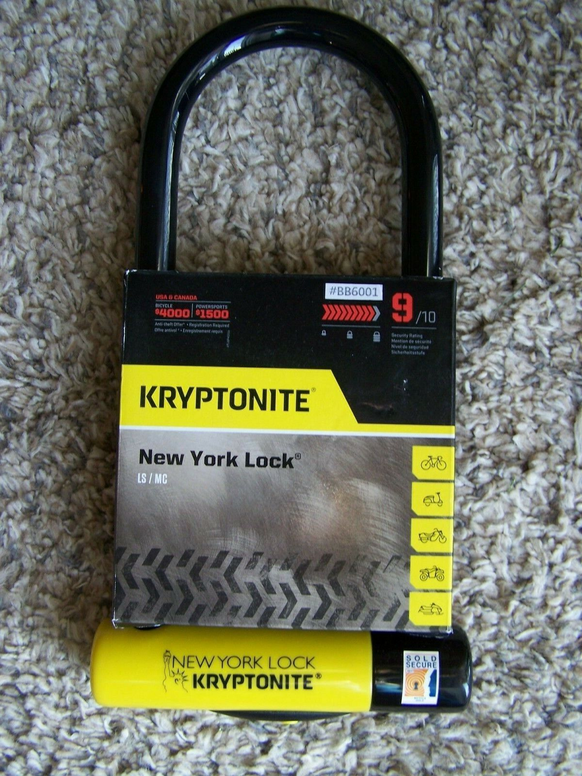"Kryptonite ls/mc  New York 4"" x 10.25"" level grade  9  16 mm"