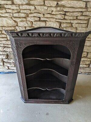 Beautiful Antique Carved Oak(?) Corner Shelves Unit / Shelf / Vintage - 110cm H