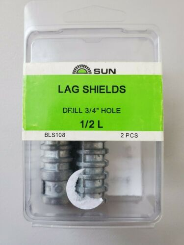 """Sun Hardware Lag Shields for Masonry, 1/2"""" Long, Use 3/4"""" Drill, 2 piece pack"""
