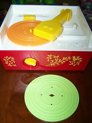 Fisher Price Record Player Music Box 2 Records Musical Toy 2010 #1697 works