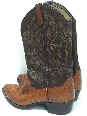 Ostrich Skin Boots - Vntg Dan Post Genuine Ostrich Skin Western Cowboy Boots Brown/Camel Size 8.5 D