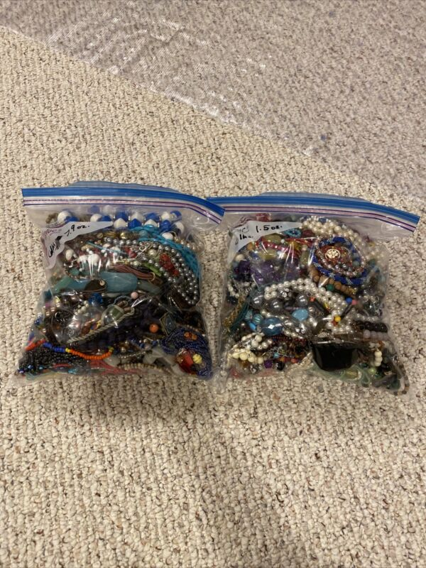 Lot Broken Jewelry For Beads & Craft 12lbs. + For Crafts Bead Harvesting Lot