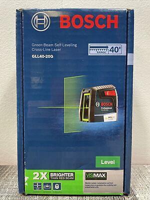 Bosch 40 Self Leveling Cross Line Laser W Visimax Green Beam Gll40-20g New