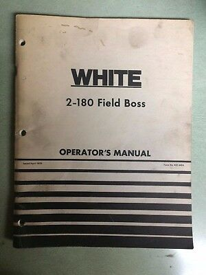 White 2-180 Field Boss Operators Owner Manual