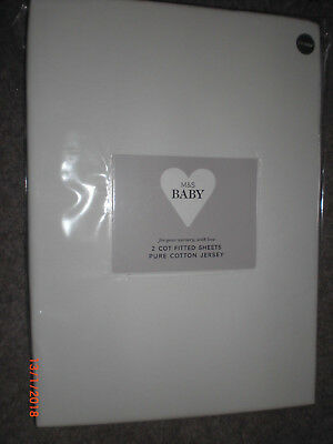 M&S 2 pack Cotton Jersey Fitted Cot Sheets  Winter White BNIP