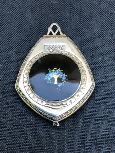 Beautiful Antique Thomae Co. Sterling Silver & Enamel Powder Pendant Compact