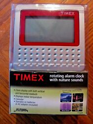 NIB TIMEX ROTATING ALARM CLOCK WITH NATURE SOUNDS & INDOOR TEMP. READING T152R