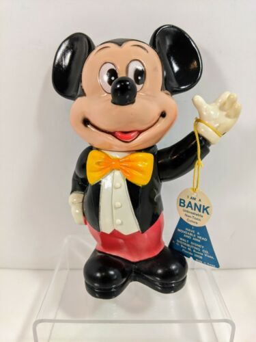 """Vintage 6"""" Mickey Mouse Rubber Piggy Bank With Original Tag & Stopper ~ Disney"""