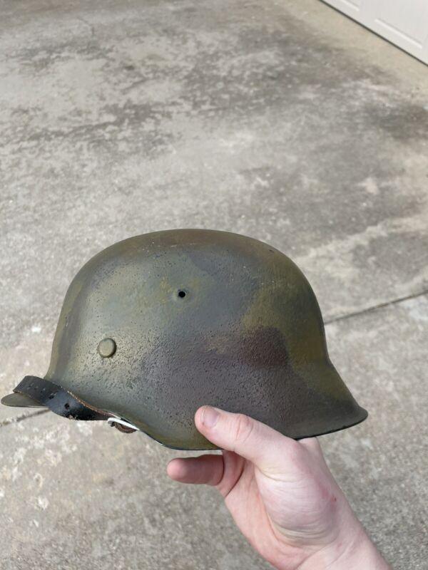 WWII German Helmet ET-68 Hand Painted Camo Repro