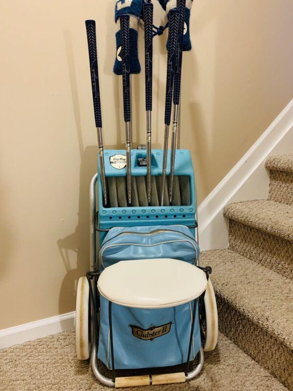 Vintage Rare Browning Bag Boy Clubster II, Golf Cart Bag Seat Combo +RARE CLUBS!