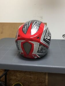 Red white and black full-face Motorcycle helmet
