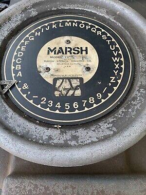 Vintage Marsh Stencil Machine Die Cutter Press 1 Inch