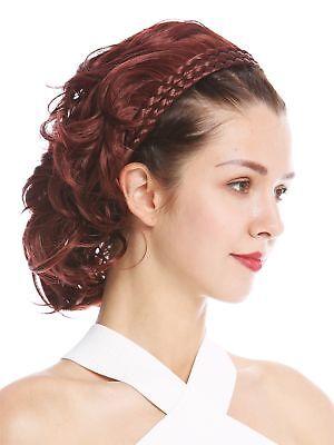 Halbperücke Haarteil edel geflochtener Haarreif schulterlang Rotbraun gewellt